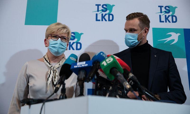 TS-LKD spaudos konferencija, dalyvauja sąrašo lyderė Ingrida Šimonytė ir TS-LKD pirmininkas Gabrielius Landsbergis. Vladimiro Ivanovo (VŽ) nuotr.