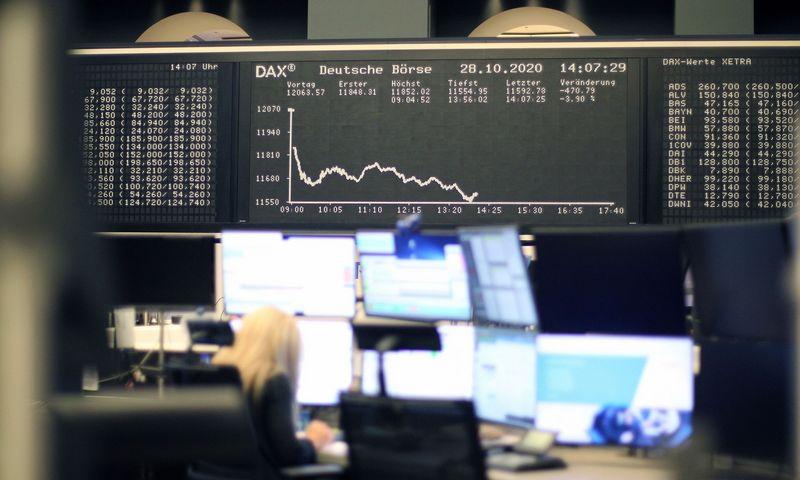 "Vokietijos akcijų indeksas DAX trečiadienį. Daniel Roland (AFP / ""Scanpix"") nuotr."
