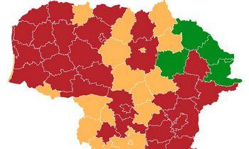 Į raudonąją COVID-19 zoną įtrauktos dar 13 šalies savivaldybių
