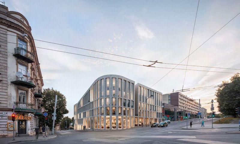 """Prie viešbučio """"Panorama"""" planuojami daugiabučiai. """"Aketuri architektai"""" vizualizacija."""