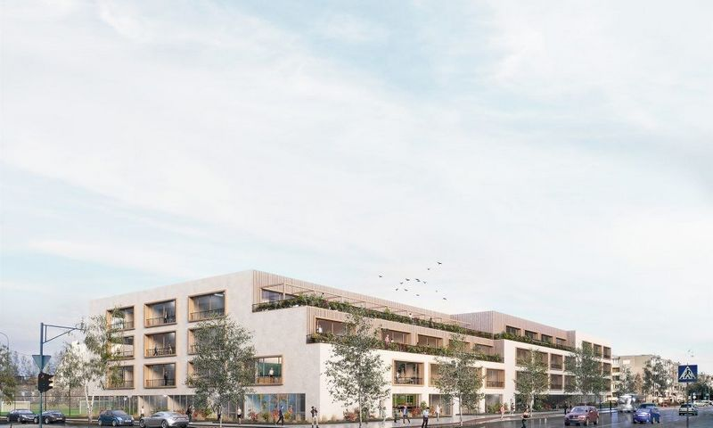 """Sostinės Pilaitės mikrorajone planuojama statyti Tolminkiemio gimnazija. """"Do Architects"""" vizualizacija."""