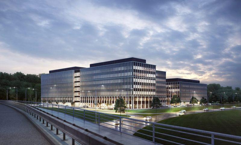 """Biurų pastatas """"Business Garden Vilnius"""". Bendrovės vizualizacija."""