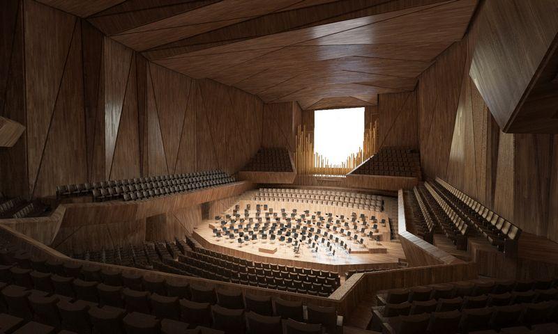 """Nacionalinės koncertų salės pagrindinė salė. """"Arquivio Architects"""" vizualizacija."""