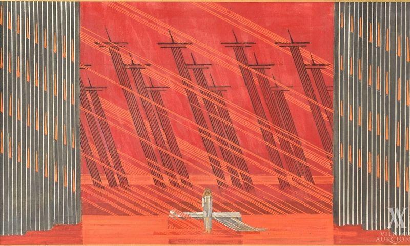 """Liudas Truikys. Dž. Verdžio operos """"Traviata"""" uvertiūros eskizas (1981–1984). Vilniaus aukciono nuotr."""