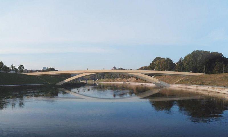 Vilniuje planuojamas pėsčiųjų ir dviračių tiltas per Nerį. Savivaldybės vizualizacija