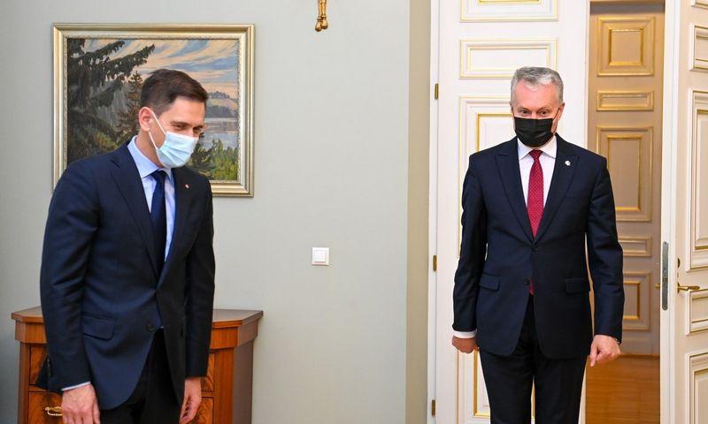 Prezidentas Gitanas Nausėda susitinka su kandidatu į energetikos ministrus Dainiumi Kreiviu. Roberto Dačkaus (Prezidento kanceliarija) nuotr.