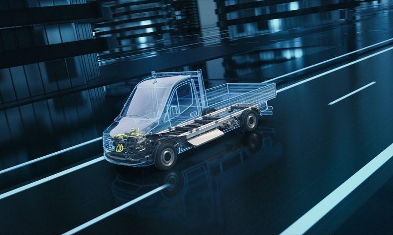 """Būsimosios kartos """"Mercedes-Benz eSprinter"""" bus gaminami, panaudojant naują, elektros pavarai pritaikytą platformą. """"Daimler AG"""" nuotr."""