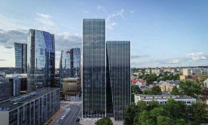 """""""Eikos"""" planuojamas biurų pastatas Lvovo g. """"Architektūros kūrybinė grupės"""" vizualizacija."""