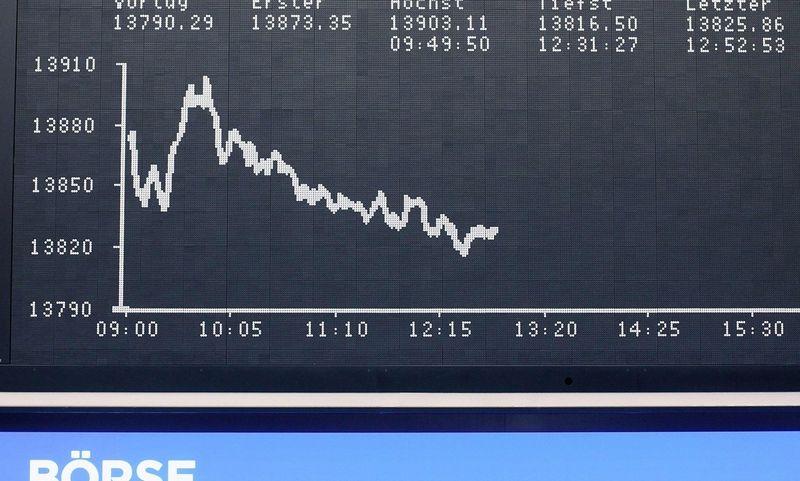 "Vokietijos DAX akcijų indeksas antradienį. Daniel Roland (AFP /  ""Scanpix"") nuotr."
