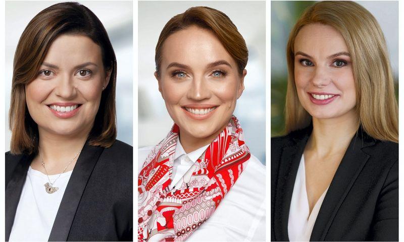 """Iš kairės į dešinę: naujos """"Ellex Valiunas"""" partnerės Olga Petroševičienė ir Giedrė Aukštuolienė bei naujoji """"iLaw"""" partnerė Jolanta Liukaitytė-Stonienė. VŽ koliažas."""