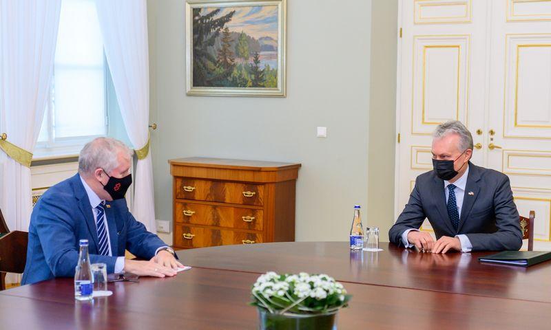 Krašto apsaugos ministro A. Anušausko ir prezidento Gitano Nausėdos susitikimas. Roberto Dačkaus (Lietuvos Prezidentūra) nuotr.