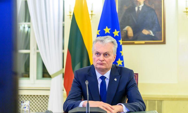 Prezidentas Gitanas Nausėda EVT vaizdo konferencijos metu. Roberto Dačkaus (LR Prezidentūra) nuotr.