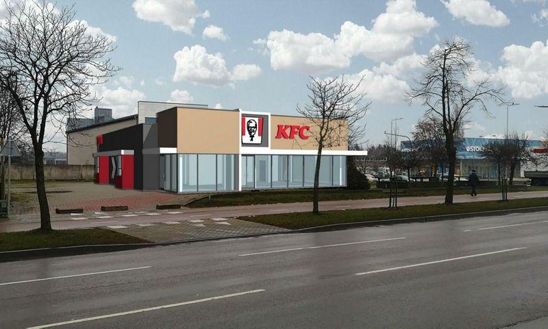 Naujo KFC restorano Kaune, Savanorių prospekte, vizualizacija.