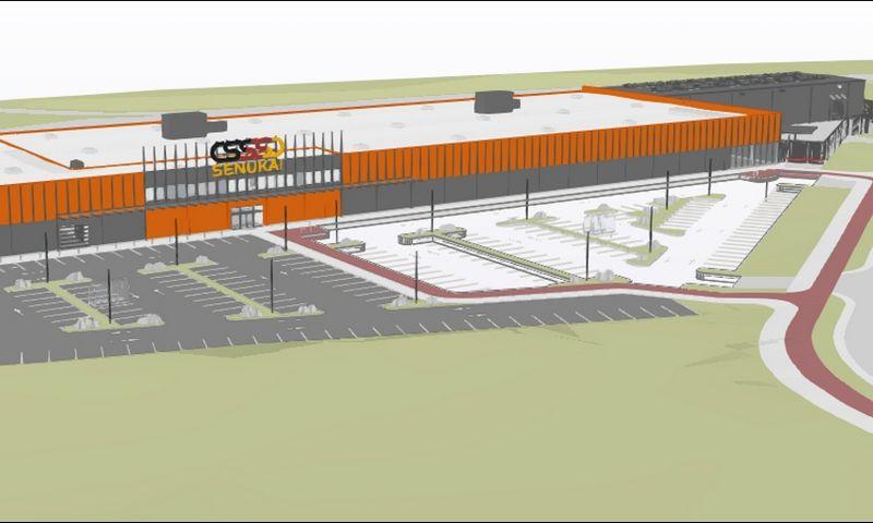 """V. Pociūno g. planuojama statyti """"Senukų"""" parduotuvė. """"SRP projekto"""" vizualizacija."""