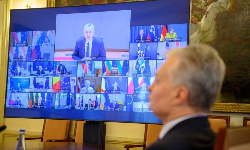 Prezidentas G. Nausėda EVT nuotoliniame EVT posėdyje. Roberto Dačkaus (LR Prezidentūra) nuotr.