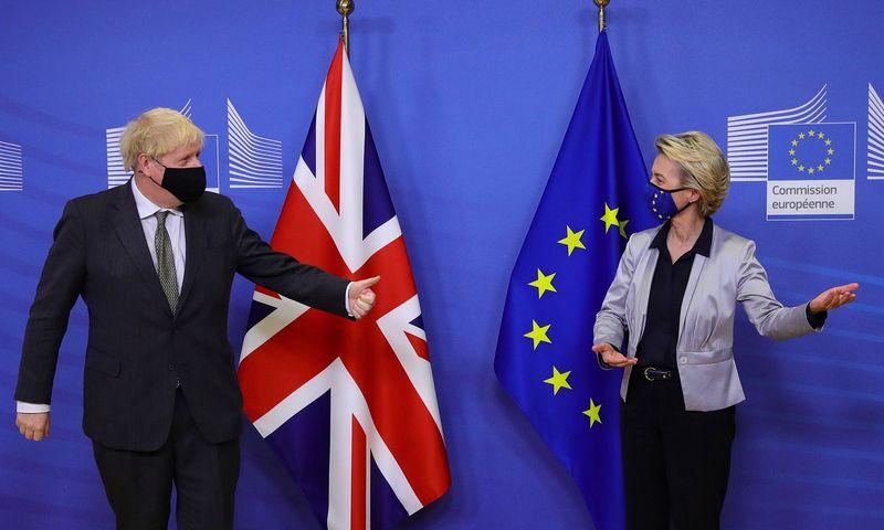 "Borisas Johnsonas, JK premjeras, ir Ursula von der Leyen, Europos Komisijos pirmininkė. Aarono Chowno (AFP / ""Scanpix"") nuotr."