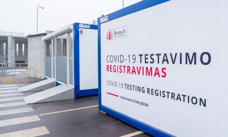 COVID-19 testavimo punktas prie Vilniaus oro uosto. Susisiekimo ministerijos nuotr.