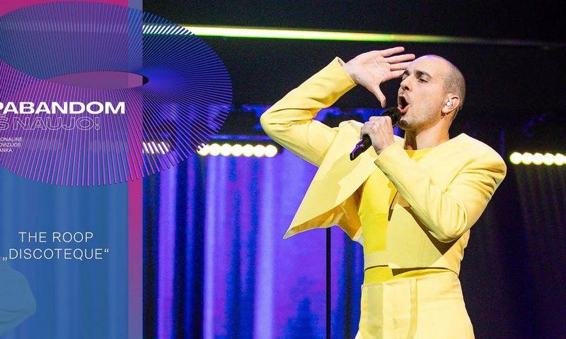 """Į """"Euroviziją"""" Lietuva siunčia šių ir praėjusių metų nacionalinės atrankos laimėtoją grupę """"The Roop"""" su daina """"Discoteque"""". """"youtube"""" stop kadras."""