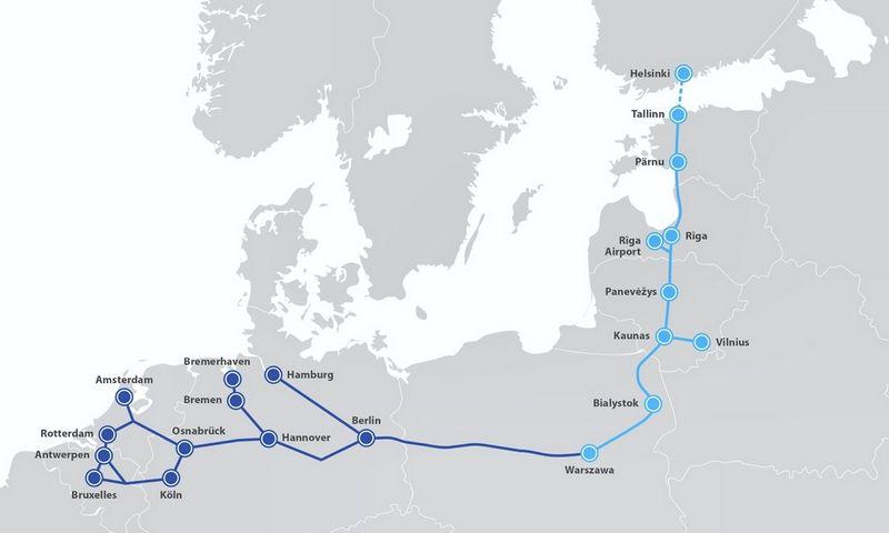 """""""Rail Baltica"""" geležinkelis sujungs Lenkiją, Lietuvą, Latviją, Estiją ir Suomiją, atverdamas keleiviams ir kroviniams tolesnį kelią į Vakarų Europą."""