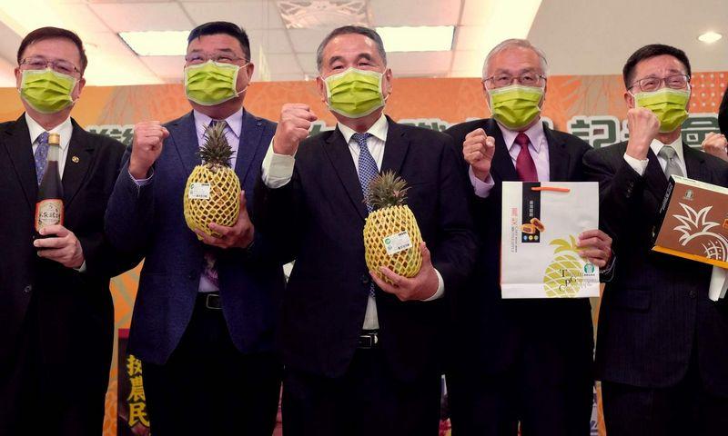"""Taivano žemės ūkio ministerija ragina gyventojus pirkti vietinius ananasus, po importo draudimo tapusius ir šalies laisvės imboliu. Sam Yeh (AFP / """"Scanpix"""") nuotr."""