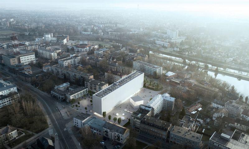 """Stasio Eidrigevičiaus menų centras. """"IMPLMNT architects"""" vizualizacija."""