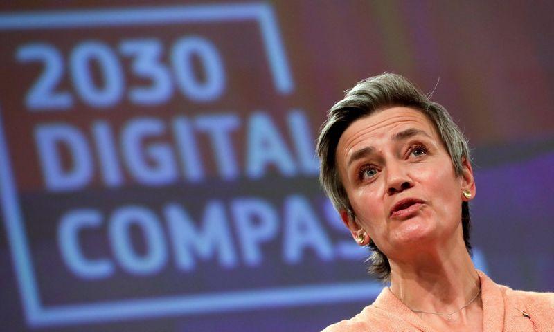 """Margrethe Vestager, už prie skaitmeninio amžiaus prisitaikiusią Europą atsakinga vykdomoji Europos Komisijos pirmininko pavaduotoja. Olivierio Hosleto (""""Scanpix"""" / """"Reuters"""") nuotr."""