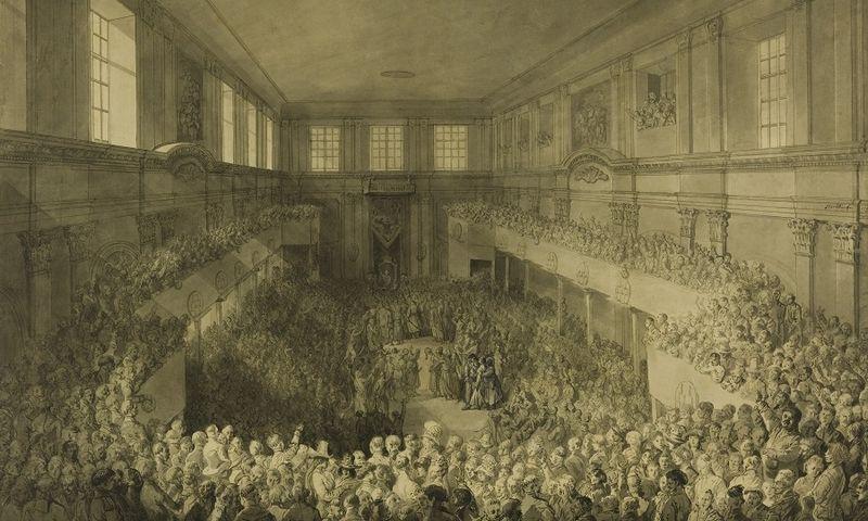 """1791 m. gegužės 3 d. Konstitucijos priėmimas Karalių rūmų Senatorių salėje Varšuvoje. Dailininkas Žanas Pjeras Norblinas de la Gurdenas, apie 1791 m. Lenkijos nacionalinė biblioteka. R.4312/WAF.9 / """"lrs.lt"""""""