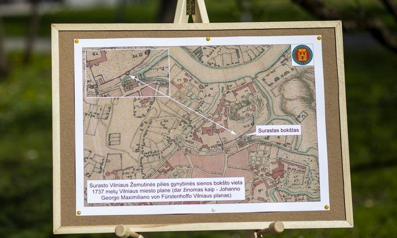 """Žemutinės pilies bokšto vieta žemėlapyje. Luko Balandžio (""""15min"""" / """"Scanpix"""") nuotr."""