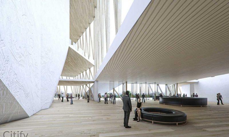 """Didžiosios salės vizualizacija, """"Arquivio architects""""."""