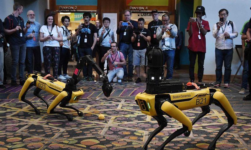 """Boston Dynamics"" robotai. Mark Ralston (""Reuters""/ ""Scanpix"" nuotr.)"