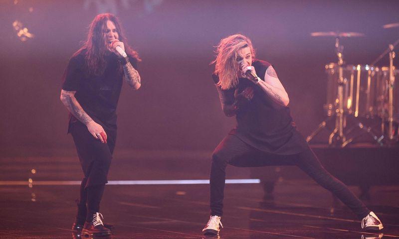 """Suomijos atstovai """"Blind Channel"""" buvo paskutinieji paskelbti patekusieji į 65-ojo """"Eurovizijos"""" dainų konkurso finalą. Kenzo Tribouillard (AFP/""""Scanpix"""") nuotr."""