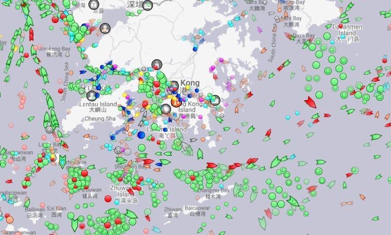 Pietų Kinijos jūroje – dešimtys sustojusių (apskritimais pažymėtų) laivų. Marinetraffic.com ekrano vaizdas.