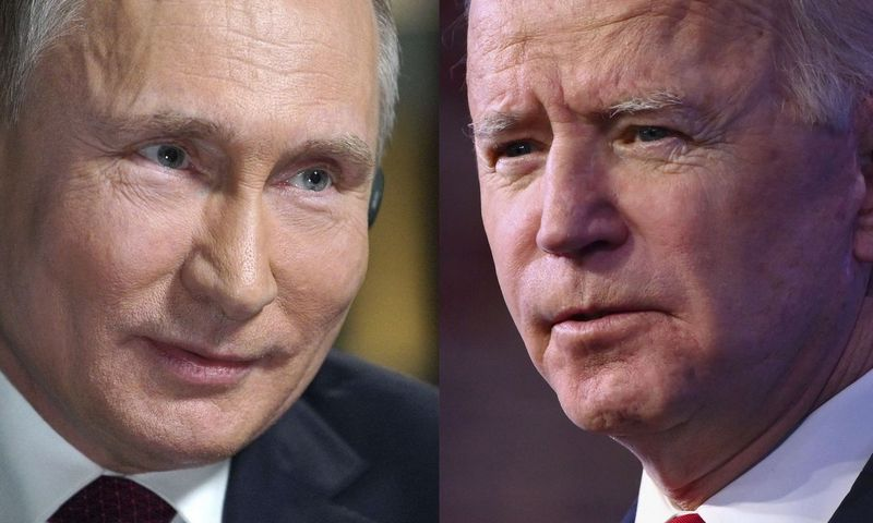 """Ženevoje susitiks Rusijos ir JAV prezidentai V. Putinas ir J. Bidenas. Angelos Weiss ir Aleksejaus Družinino  (AFP / """"Scanpix"""") nuotraukų koliažas."""
