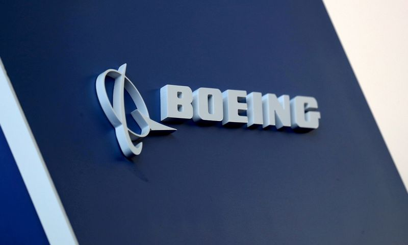 FILE PHOTO: The Boeing logo is pictured at the Latin American Business Aviation Conference & Exhibition fair at Congonhas Airport in Sao Paulo, Brazil August 14, 2018. REUTERS/Paulo Whitaker/File Photo