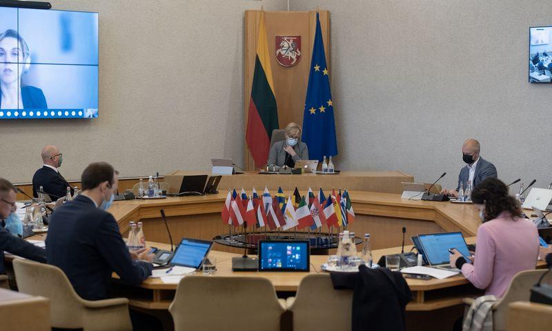 2021-05-26 LRV nuotolinė spaudos konferencija ir vyriausybės posėdis. Laimos Penek (LRVK) nuotr.
