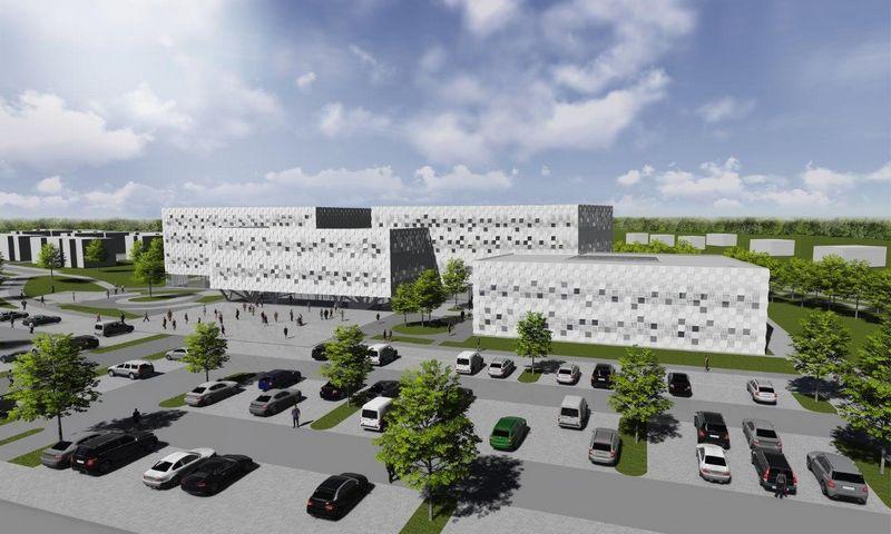 Santaros klinikų miestelyje statomas naujas Medicinos fakulteto mokslo centras. Universiteto vizualizacija.