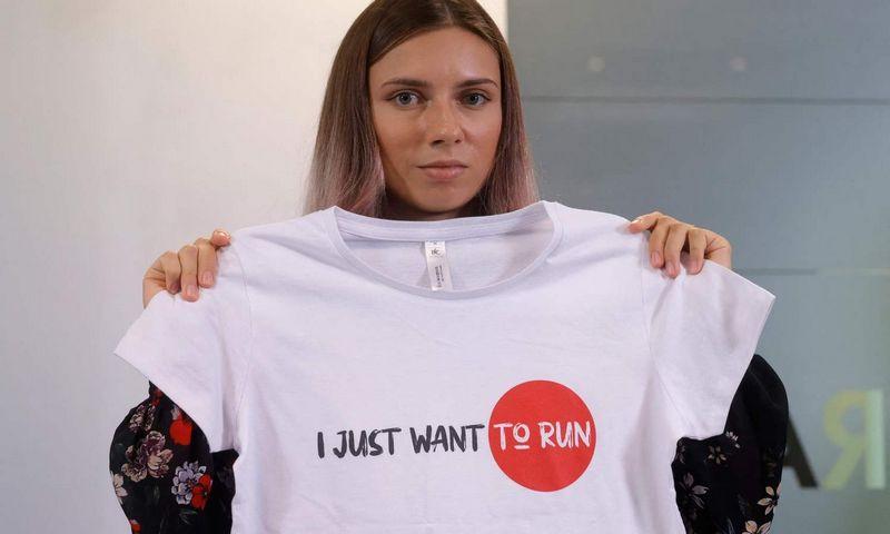 """Baltarusijos sprinterė Kryscina Cimanouskaja. Wojtek Radwanski (AFP/""""Scanpix"""") nuotr."""