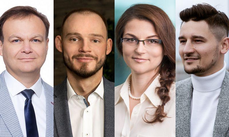 """Andrejus Davydenka, """"Re/Max Future"""" brokeris, Arminas Karalius, """"Inreal"""" brokeris, Olga Akelienė, UAB """"Ober-Haus"""" pagrindinio biuro vadovė, Mantas Mikočiūnas, """"Capital"""" brokeris. VŽ koliažas."""