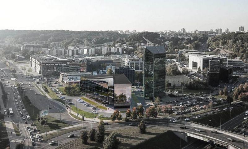 """Saltoniškių g. statomas bendrovės """"Teltonika"""" biuras. """"Architektūros linijos"""" vizualizacija."""