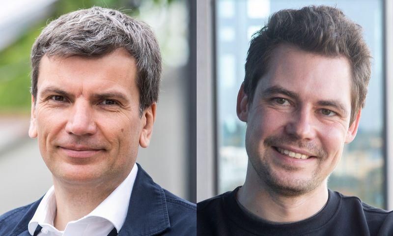 """Verslininkas Darius Žakaitis ir Mantas Mikuckas, """"Vinted"""" vykdomasis direktorius. VŽ koliažas."""