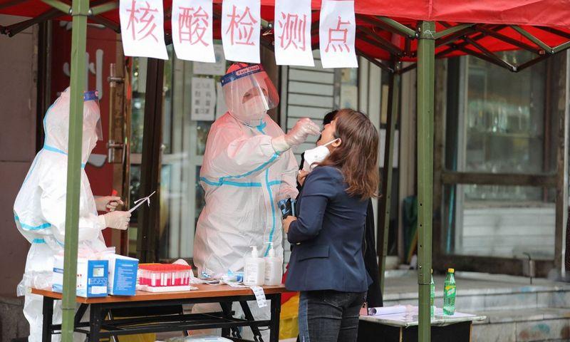 """Gyventojų testavimas Harbine, Heilongjiango provincijos sostinėje. STR / AFP / """"Scanpix"""" nuotr."""