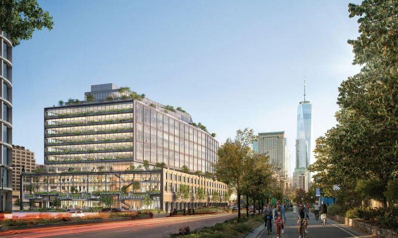 """Planuojamas """"St. John's Terminal"""" pastatas Niujorke. """"Oxford Properties"""" vizualizacija."""