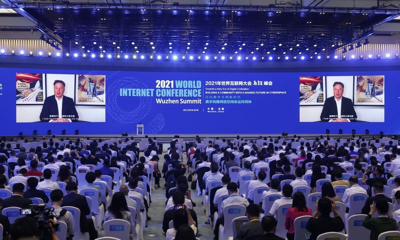 TONGXIANG, Sept. 26, 2021  Elon Musk, CEO of Tesla, Inc., addresses the opening ceremony of the 2021 World Internet Conference Wuzhen Summit via video in Wuzhen, east China's Zhejiang Province, Sept. 26, 2021. The summit, kicked off on Sunday in Wuzhen, east China's Zhejiang Province, features 20 sub-forums under the theme of ''Towards a New Era of Digital Civilization -- Building a Community with a Shared Future in Cyberspace. (Credit Image: ?© Ding Hongfa/Xinhua via ZUMA Press)