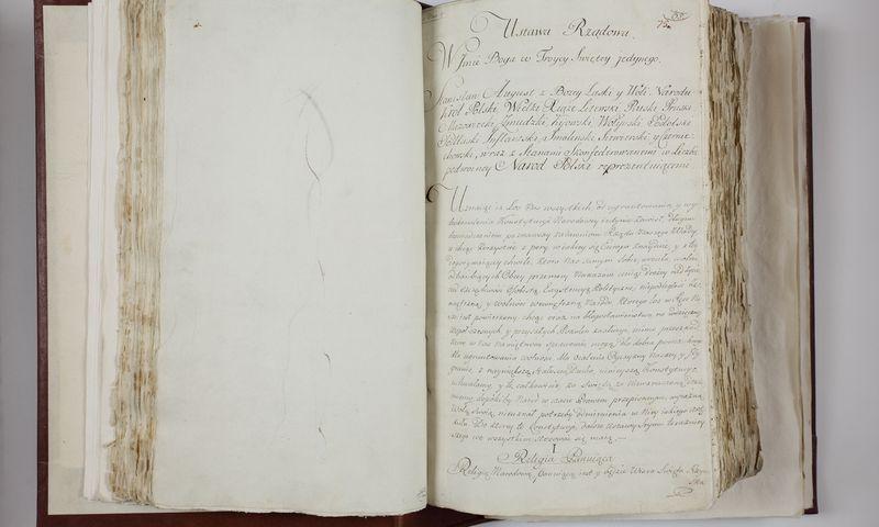 1791 m. gegužės 3 d. konstitucija. Varšuvos senųjų aktų archyvo / LDK Valdovų rūmų muziejaus nuotr.